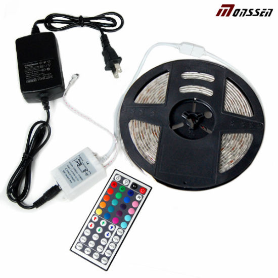 12V IP65 Waterproof Flexible CE 5m RGB 5050 LED Strip Kit with Remote Controller pictures & photos