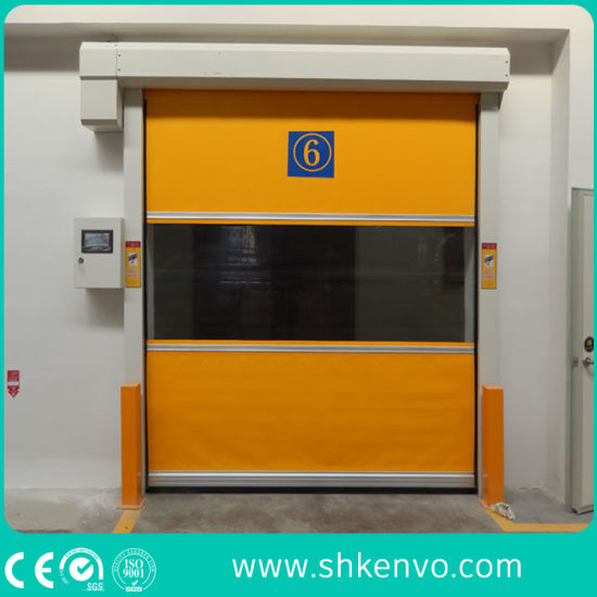 Automatic Industrial PVC Fabric Flexible Rapid Coiling Roll up Doors for Food Processing Warehouse