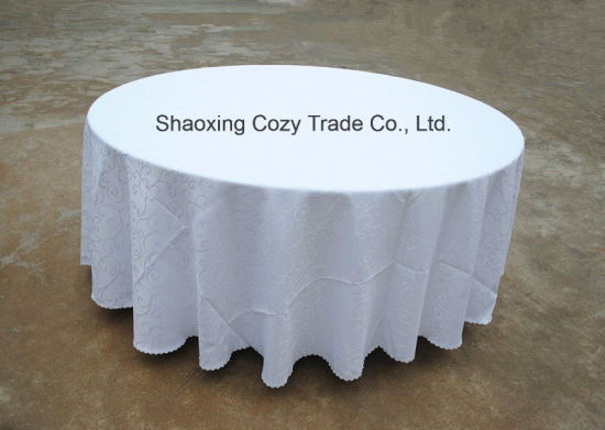 Hot Sale Polyester Plain Jacquard Tablecloth pictures & photos