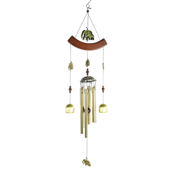 Wholesale New Outdoor Garden Decor Hanging Customized Tubed 3D Metal Brass Tube Wind Chimes with Elephant Pendant