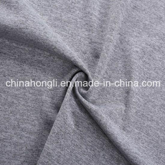 100% Polyester Melange Single Jersey Knitting Fabric for Sport Garment