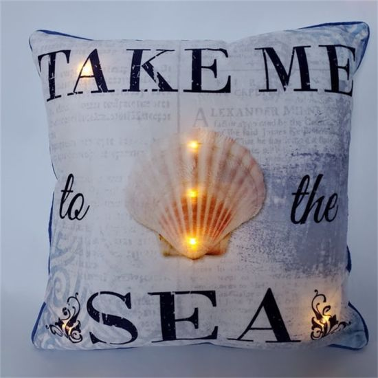 LED Pillow Cushion for Home Decoration with Letter and Shells