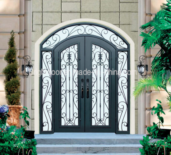 Factory Export Inserted Glass Entrance Swing Wrought Iron Door