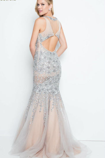 Silver Champagne Evening Dress Beaded Crystals Party Prom Dresses E1789 pictures & photos