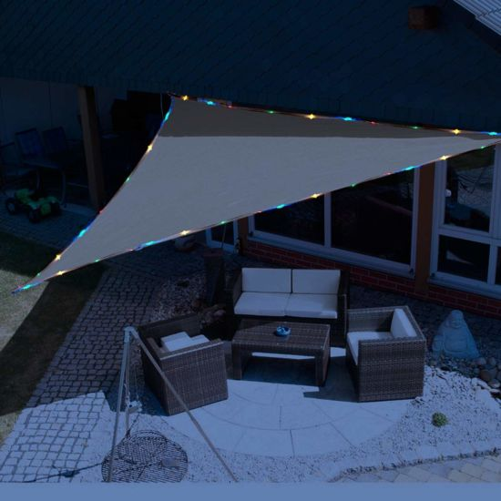 Triangle Sand UV Block Sun Shade Sail with LED String Light Perfect for Outdoor Patio Garden