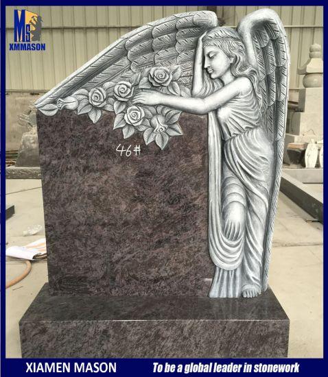 Wholesale Antique Purple Granite Gravestone with Standing Angel Sculpture