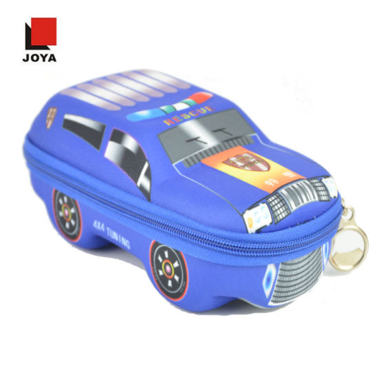 Promotional Funny 3D Leather Car Shape EVA Hard Stationery Pencil Case Box with Layers for Boy Kids