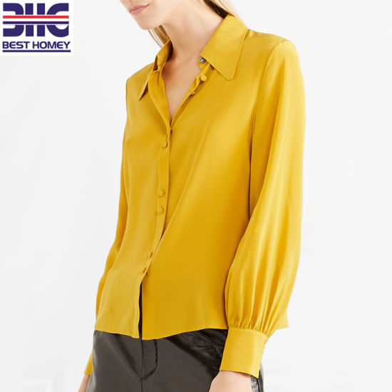 Embellished Silk Crepe De Chine Button Blouses Women Long Sleeve Shirts for Ladies