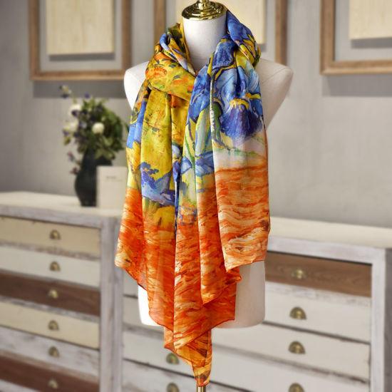 Custom Design Flower Pattern Elegant Oblong Silk Scarf