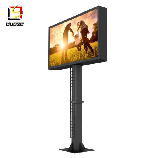 Manufacturers LED Outdoor Steel Pole Aluminum Frame Rotating Interactive Billboard