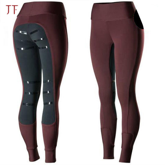 Micro Silicone Women Equestrian Jodhpurs Breeches Full Seat Horse Riding Pants Tights