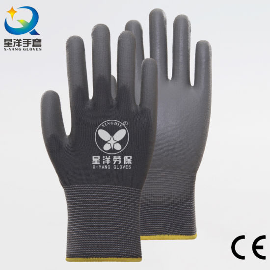 13G Polyester Liner with PU Coated Safety Protective Work Glove