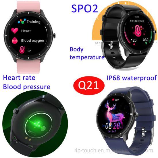 Custom Dial 1.28 Inch Body Temperature Heart Rate Monitoring Bpm SpO2 Smart Watch