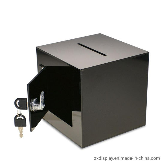 Black Acrylic Ballot Box with Easy Open Rear Door