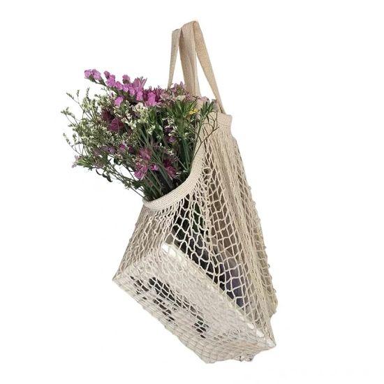 Hot Sale Portable Reusable Organic Cotton Mesh Drawstring Bag Supermarket Vegetable and Fruit Net Cotton Mesh Shopping Bag