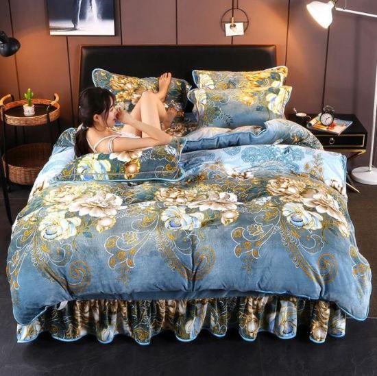 Morden Colorful Printed Flannel Bedding Sets Wholesale Bedding Sheet Set for Winter