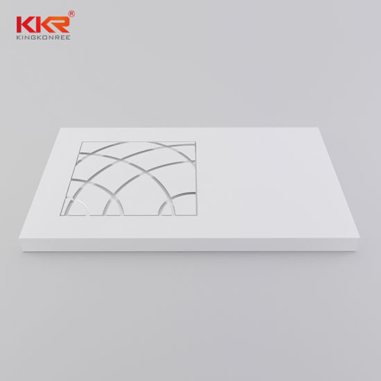 White Color Matte Finished Texture Stone Resin Poly Marble Rectangle Shower Tray