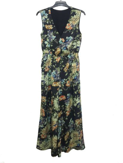 Sleeveless Ladies Chiffon Summer Beach Dress with Flower Printing