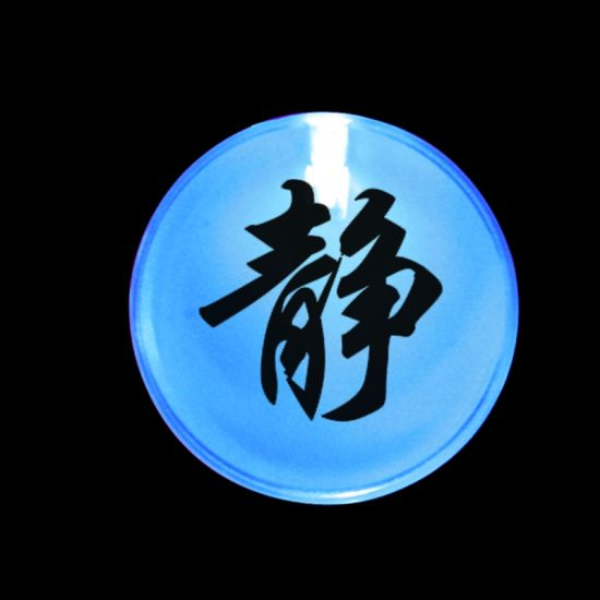 Chinese Auspicious Characters Frosted Plastic LED Pin Badge