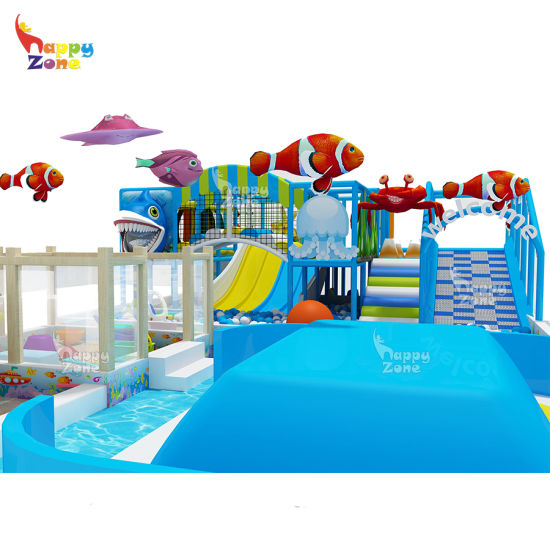 Ocean Theme Indoor Playground Equipment with Air Bag Inflatable Cushion Clown Fish
