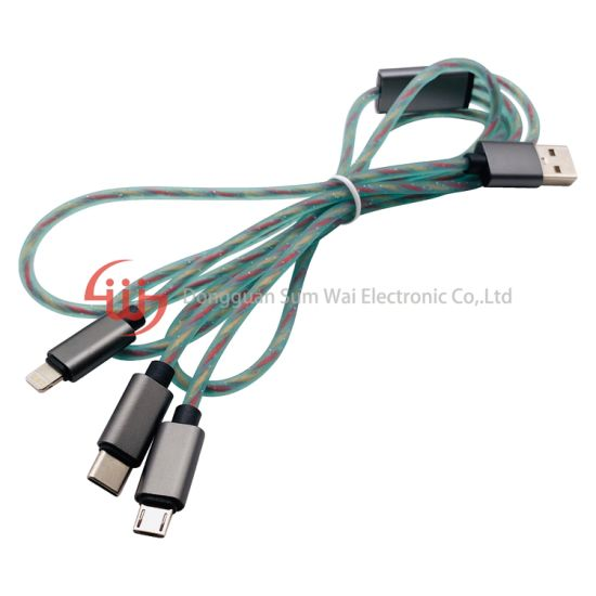 Silicone USB Type C Micro Lightning Data Cable