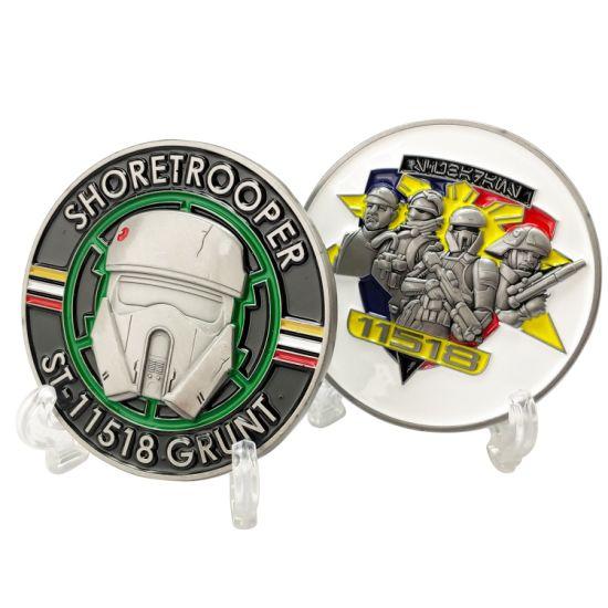 High Quality Custom Soft Enamel Shoretrooper St-11518 Grunt 3D Logo Military Challenge Coins Metal Craft Gift for Plastic Box