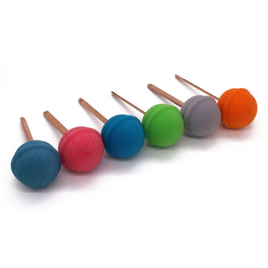 Candy Color Cleaning Sponge Puffs with Long Handle for Cups