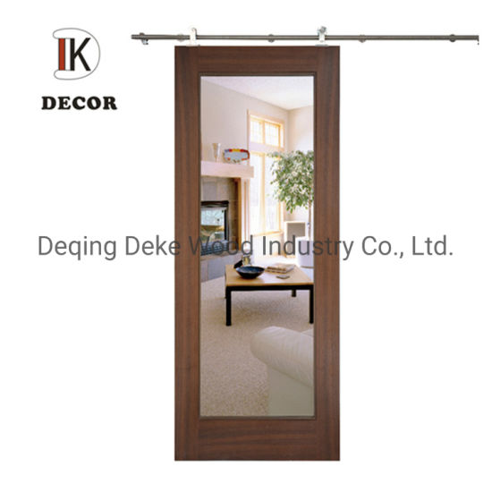 China Hotel Bathroom Mirrored Barn Door With Sliding Door Hardware China Barn Door Mirror Door