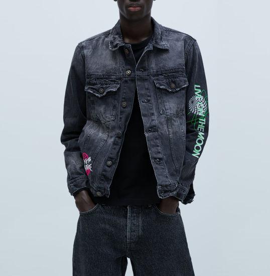 Wholesale Custom Men's Coat Printed Denim Men's Jacket Lapels Long Sleeve Denim Jacket