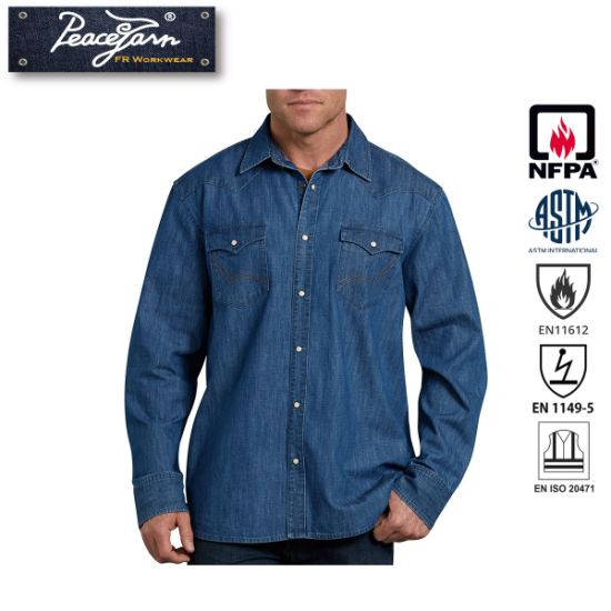 100% Cotton Denim Work Shirt for Fire Retardant Fr Clothing pictures & photos