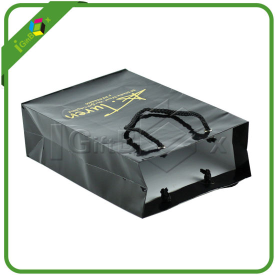 Shining Black Paper Bags with Logo pictures & photos