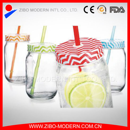 bd45fd39fd0c China Bulk Glass Mason Drinking Canning Jars with Colord Straws for ...