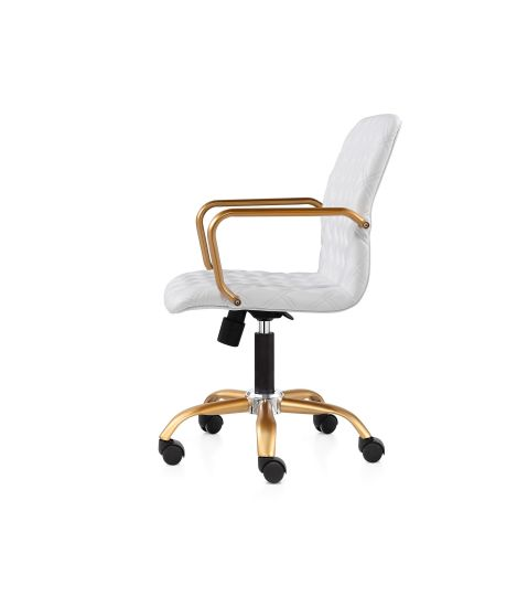 Office Chair, White And Gold Office Chair High Back