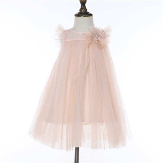 Wholesale Kid Clothing Sleeveless Tulle Dress with Front Flower Accessories