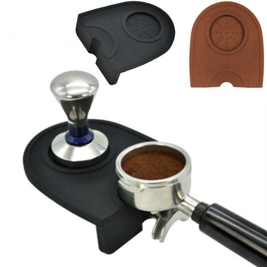 Silicone Coffee Tamper Mat Non Slip Corner Tamping Holder Black