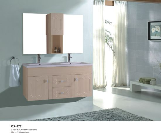 Double Basin Pvc Bathroom Vanity With