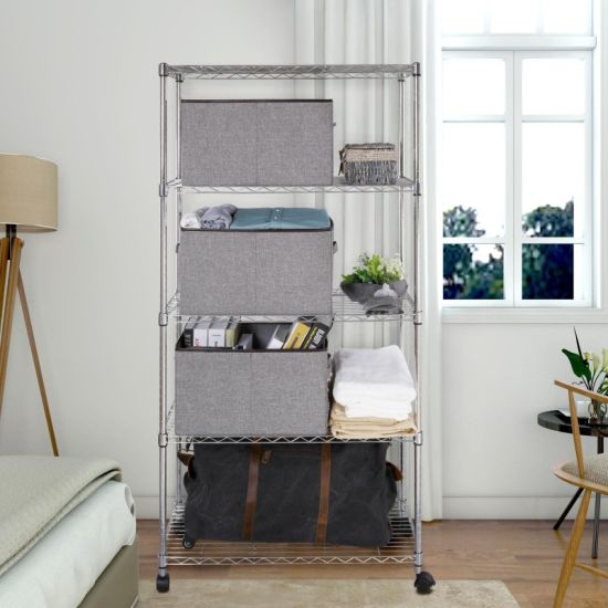 14 Inch Wide Chrome 5 Shelf Home Living Room Storage Metal Wire Shelving Unit With Wheels