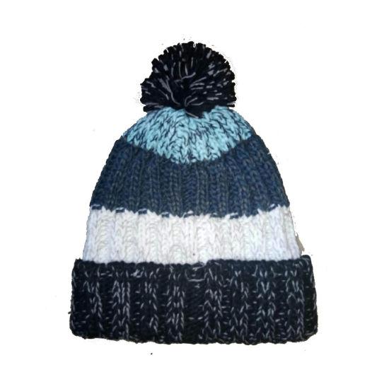 Children Ribbed Colour Block Winter Fashion Warm Beanie Hat Cap