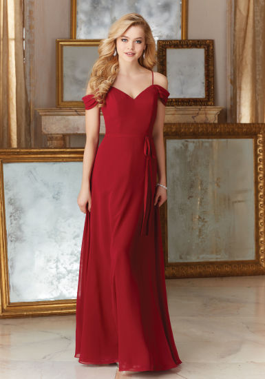 Red Chiffon A Line Bridesmaid Dresses Party Prom Evening Dress