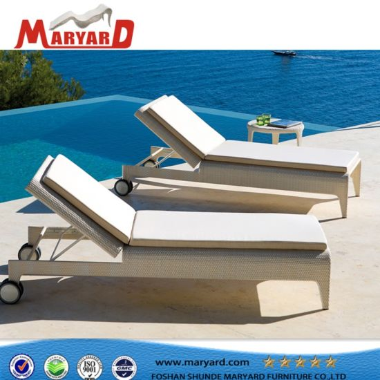 Adjustable Upholstered Beach Daybed Sunbed Chair And Leisure Garden Hotel  Chaise Lounge
