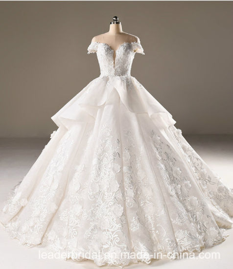 660e68e88b0 China Flora Bridal Ball Gowns Lace Tulle Short Sleeves Wedding Dress ...