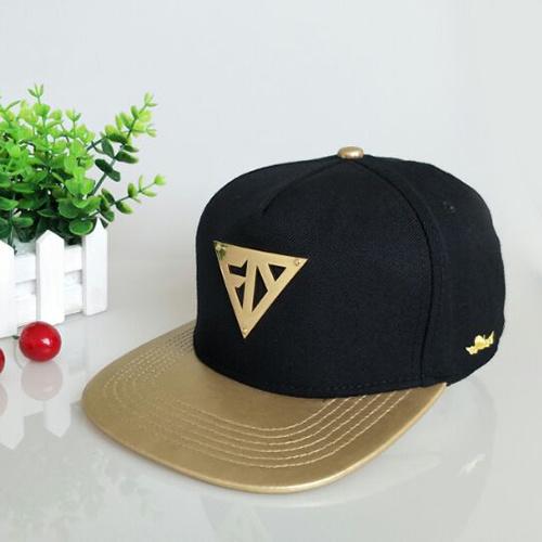 52a4abf6a7f6a Custom Metal Logo Leisure Leather Cap Black Flat Bill Snapback Hat - China  Caps