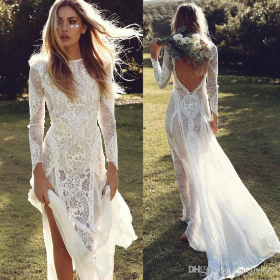 China Long Sleeves Bridal Dress Country Beach Simple Lace Wedding ...