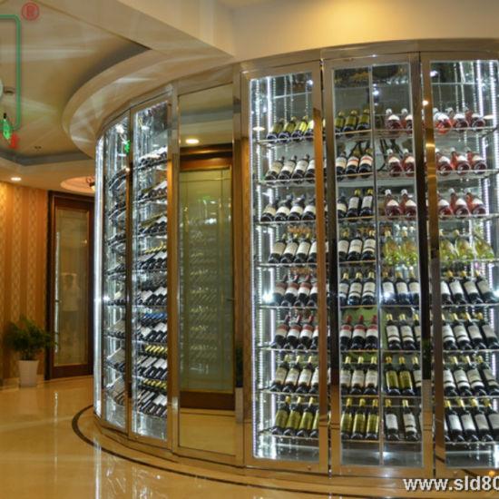 China Residential Glass Door Metal, Wine Rack Cabinet