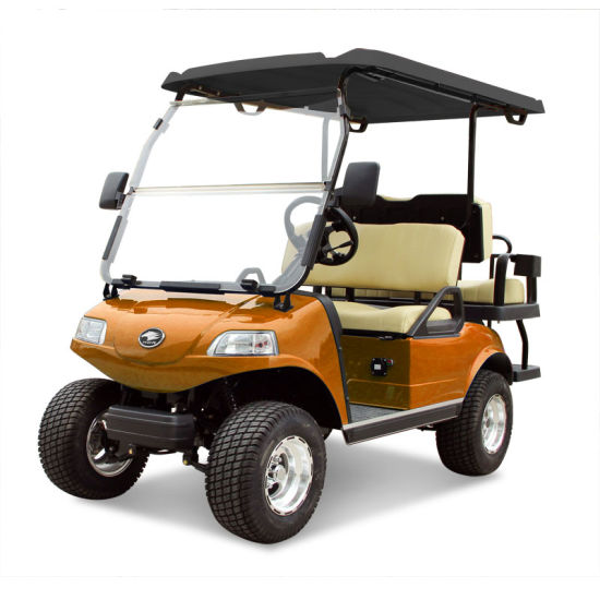 Golf Cart 2+2-Seater Electric Cart Orange Utility Vehicle Blackroof
