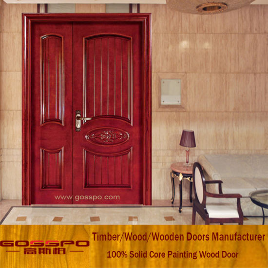 Sapele Home Front Door Design Unequal Double Wood Door (XS1 009)