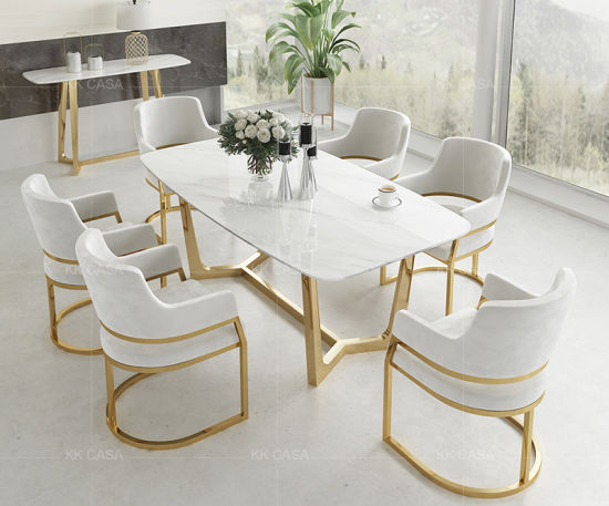 China Luxury Leather Sofa Living Room Furniture Fashion Golden Leg Dining Table Set With Light Blue Fabric Chair China Dining Table Dining Chair