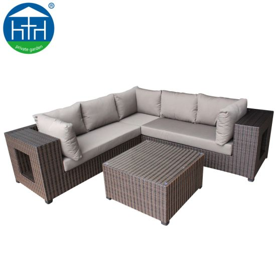 China Cozy Patio Outdoor Furniture Wide Armrest Sectional Rattan