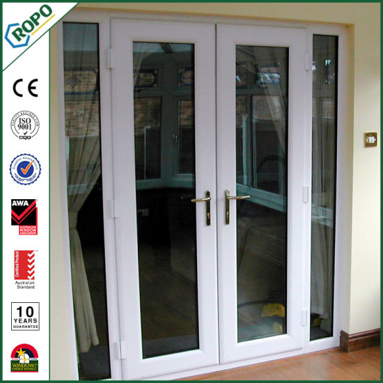 China Hurricane Pvc French Swing Door Security Double Glazed For