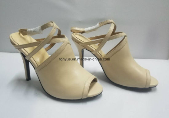 Lady Thin Heel Kid Leather Women Sandals pictures & photos